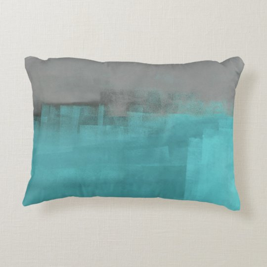 'Misty' Turquoise and Grey Abstract Art Accent Pillow