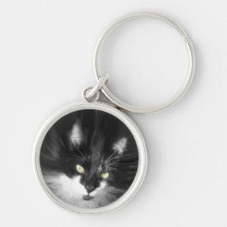 Misty Tuxedo Cat Keychain