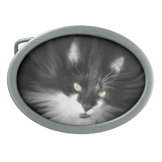 Misty Tuxedo Cat Oval Belt Buckle