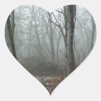 Misty Wood Heart Sticker