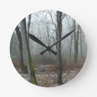 Misty Wood Round Clock