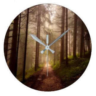 Misty Woodland Path Large Clock