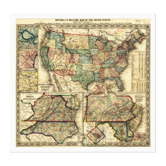 Mitchell's Military Map of the United States 1861 Gallery Wrap Canvas