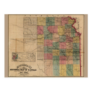 Mitchell's Sectional Map of Kansas (1859) Postcard