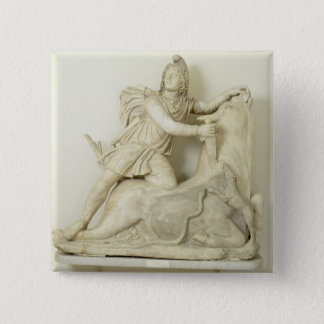 Mithras Sacrificing the Bull, Marble relief, Roman 2 Inch Square Button