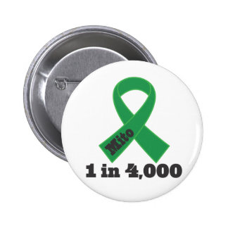 Mito Green Ribbon Awareness 1 in 4000 2 Inch Round Button