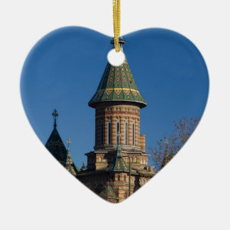 Mitropolitan Cathedral, Timisoara, Romania Ceramic Heart Ornament