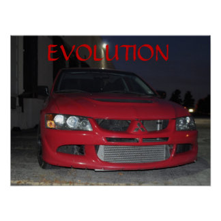 Mitsubishi Evolution At Night Poster