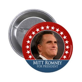 Mitt Romney 2012 - photo pinback with stars - red 2 Inch Round Button