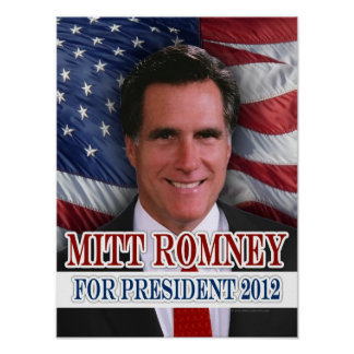 Mitt Romney 2012 Waving Flag Background Poster