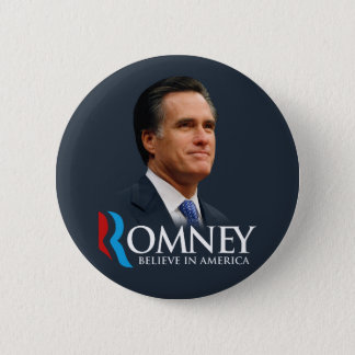Mitt Romney Believe In America Portrait Dark Blue 2 Inch Round Button