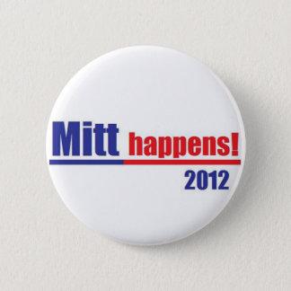 """Mitt Romney """"Mitt Happens"""" 2 Inch Round Button"""