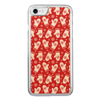 Mittens and Snowflakes Retro Christmas Ski Holiday Carved iPhone 8/7 Case