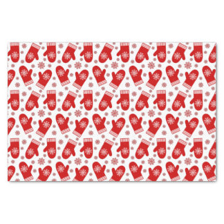 Mittens and Snowflakes Retro Christmas Ski Holiday Tissue Paper