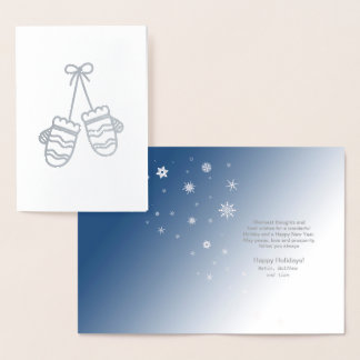 Mittens and Snowflakes Silver ID427 Foil Card