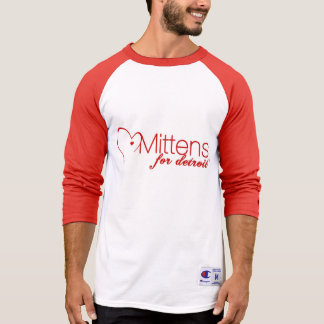Mittens for Detroit Men's Champion 3/4 Sleeve T T-Shirt