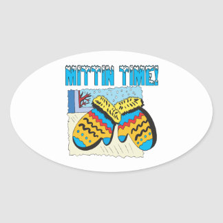 Mittin Time Oval Sticker