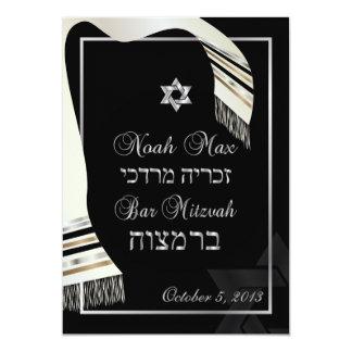 Mitzvah/noir en soie de talit de faux de faire-parts