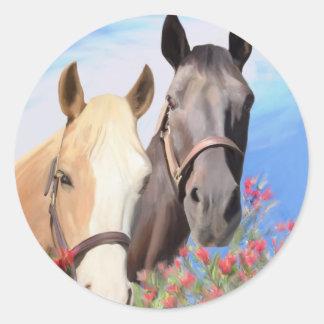 Miwok Horses.jpg Round Sticker
