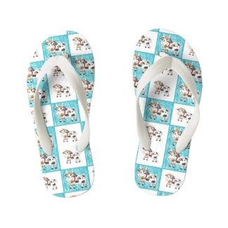 Mix and match cow pattern kids flip flops