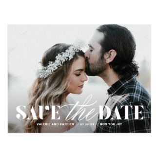 Mix Elegant Typography Modern Photo Save the Date Postcard