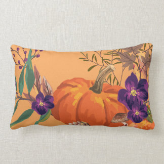 Mix of Pumpkins Fall Leaves and Flowers Lumbar Pillow