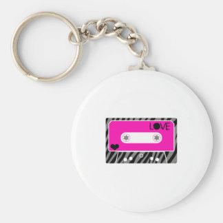 Mix Tape Love Basic Round Button Keychain