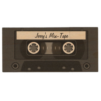 Mix Tape Personalized Black Wood USB 2.0 Flash Drive
