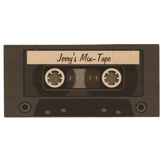 Mix Tape Personalized Black Wood USB Flash Drive