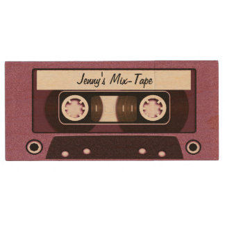 Mix Tape Personalized Pink Wood USB 2.0 Flash Drive
