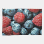 Mixed berries (blueberries and raspberries) design kitchen towel