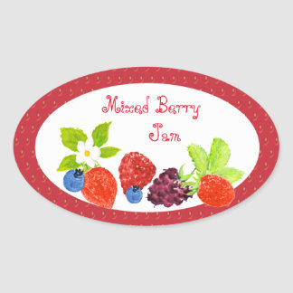 Mixed Berry Preserves Canning Label Oval Sticker