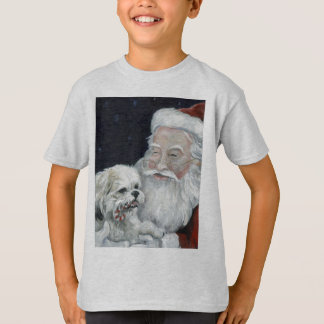 Mixed Bichon Shihtzu & Santa Christmas Art T Shirt