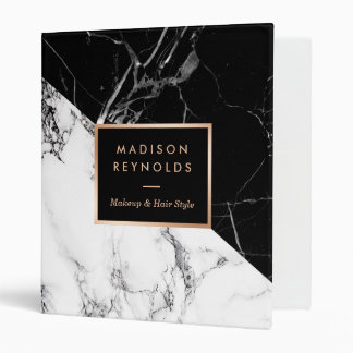 Mixed Black White Marble Texture Unique Design Vinyl Binder