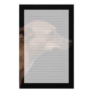 Mixed breed dog profile on black background custom stationery