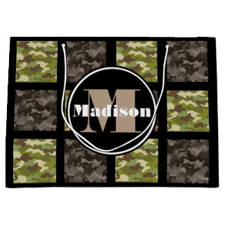 Mixed Camouflage w/Personalization Large Gift Bag