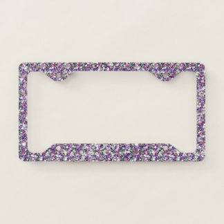 Mixed Colors Trendy Glitter Texture Print License Plate Frame