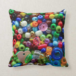 Mixed colourful beads throw pillow