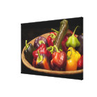 Mixed colours and types of peppers canvas print