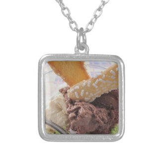 Mixed ice cream scoops with biscuits in bowl silver plated necklace
