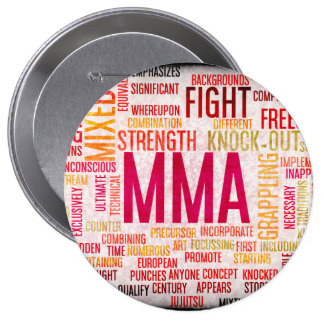 Mixed Martial Arts or MMA as a Grunge Concept 4 Inch Round Button