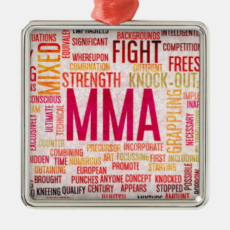 Mixed Martial Arts or MMA as a Grunge Concept Silver-Colored Square Ornament
