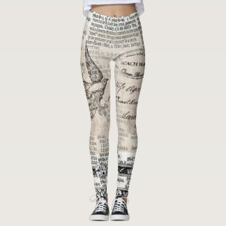 Mixed Media Art Victorian Style Bird Leggings