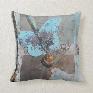 Mixed Media Butterfly Dreams Collage Throw Pillow