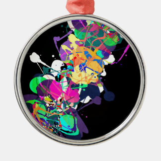 Mixed Media Colors 1 Silver-Colored Round Ornament