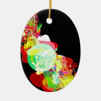 Mixed Media Colors 5 Ceramic Oval Ornament