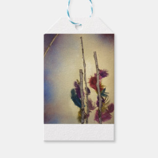 """Mixed media """"feather tree"""" mixed media for fun gift tags"""