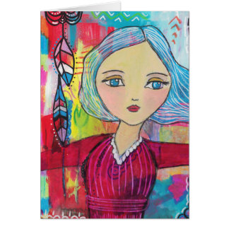 Mixed Media Girl with Blue Hair Card