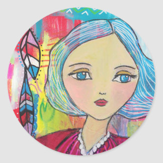 Mixed Media Girl with Blue Hair Sticker