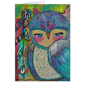 Mixed Media Owl and Feathers Card